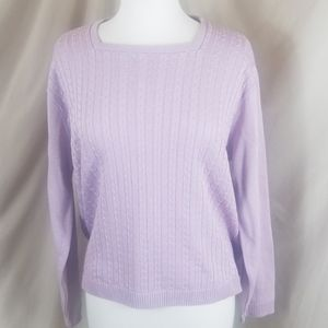 Alfred Dunner Lilac Cable Knit Sweater